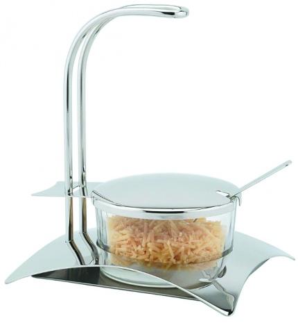 Сахарница стеклянная на металлической подставке с ложечкой V=400мл
