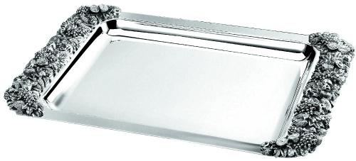 Блюдо прямоугольное металлическое с декоративными ручками «Regent»  L/W, см 47/26,5
