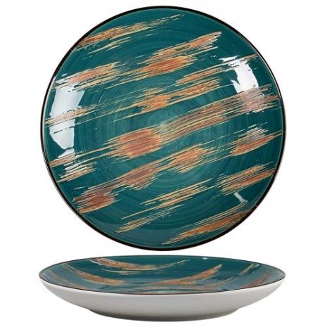 Тарелка Texture Dark Green Lines 27 см