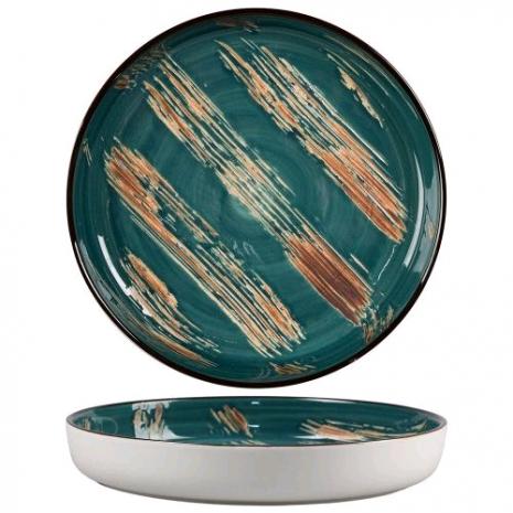 Тарелка с бортом Texture Dark Green Lines 16,5*2,4 см