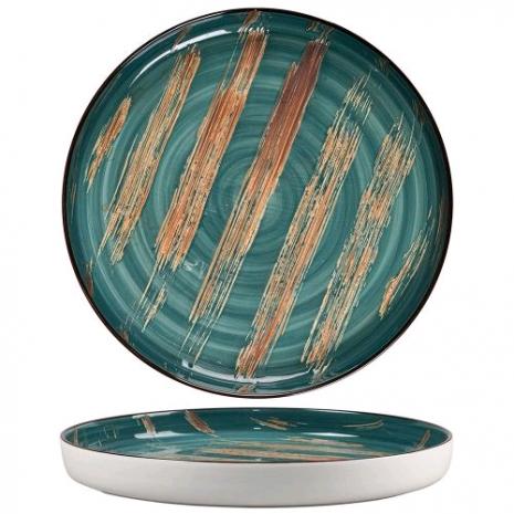 Тарелка с бортом Texture Dark Green Lines 28*3 см
