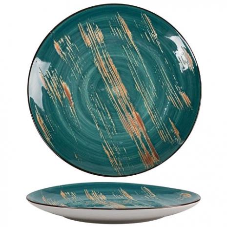 Тарелка Texture Dark Green Lines 23,5 см