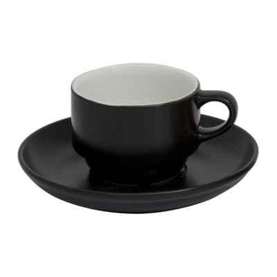 NBNEO02CT141SYH Чайная Пара 230 Мл., Фарфор,Цвет Черный, Bodrum,(Чашка И Блюдце D=15см)