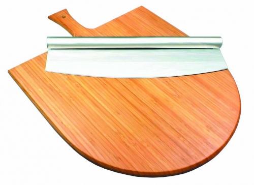 Набор для подачи пиццы доска бамбук с ручкой + нож нерж. сталь D= 32 см