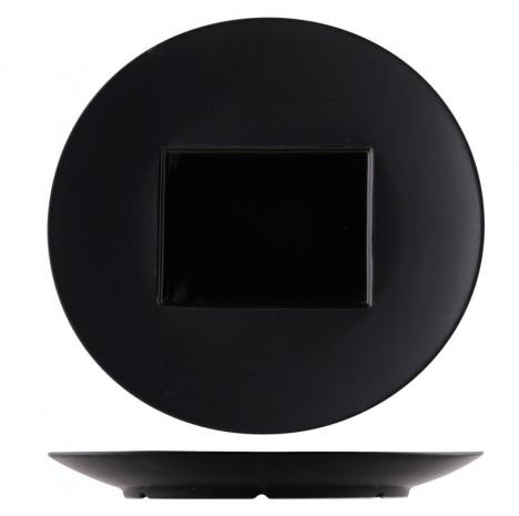 "Тарелка кругл.квадр.центр ""Glossy-Black"" D= 30,5см Внутр.=15/11см"