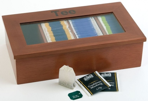 Контейнер для пакетиков чая 4 отд. 33,5*20*9 см. дерево, коричневая APS