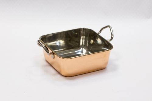 Сковорода для подачи 14*14*5 см нерж. с медным напылением