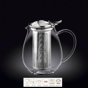 Чайник заварочный 1300 мл короткий носик,с откидной крышкой и колбой нерж. Thermo Glass Wilmax/1/18/